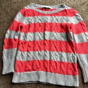 LOFT Coral & Tan sweater - Small Petite
